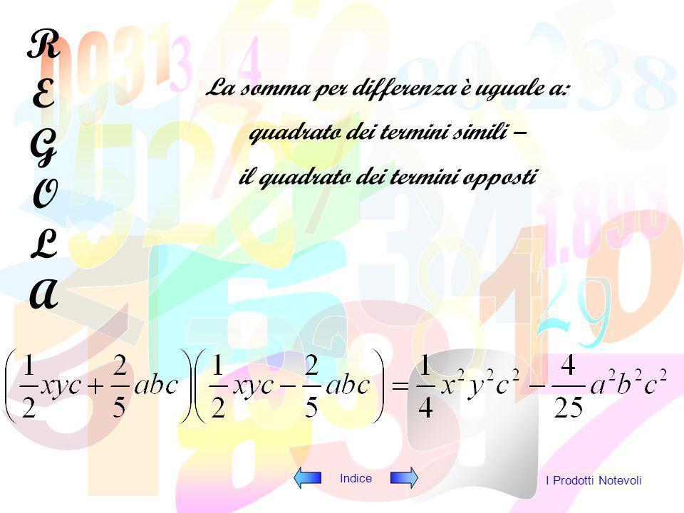 Indice I Prodotti Notevoli (ab 2 + x 2 y) (ab 2 – x 2 y)=a2b4a2b4 x4y2x4y2 Quadrato dei termini simili Quadrato dei termini opposti -