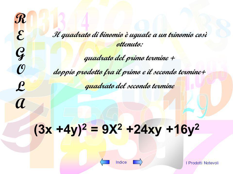 Indice I Prodotti Notevoli La potenza ennesima di un binomio è un polinomio che ha per coefficienti i numeri della n + 1esima riga del triangolo di tartaglia e per parti letterali la prima lettera che va in ordine decrescente e nella seconda vanno in ordine crescente REGOLAREGOLA (3a – 2b) 5 = = (3a) 5 +5(3a) 4 (-2b) +10(3a) 3 (-2b) 2 +10(3a) 2 (-2b) 3 +5(3a)(-2b) 4 +(-2b) 5 = = 243a 5 -810a 4 b+1080a 3 b 2 -720a 2 b 3 +240ab 4 -32b 5