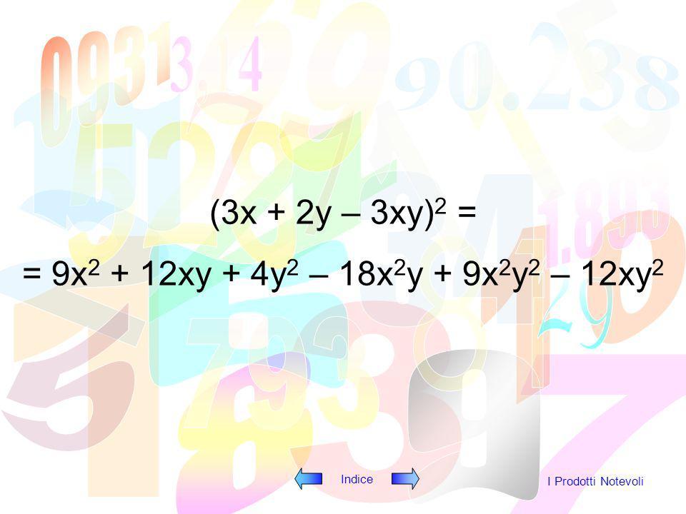 Indice I Prodotti Notevoli (3x + 2y – 3xy) 2 = = 9x 2 + 12xy + 4y 2 – 18x 2 y + 9x 2 y 2 – 12xy 2