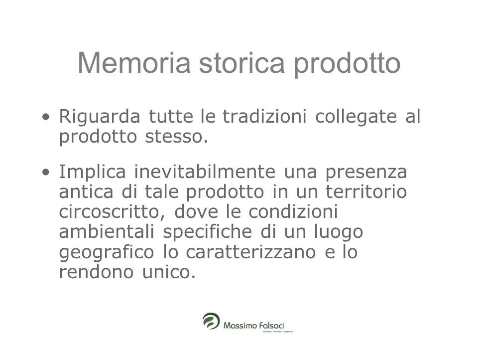Memoria storica prodotto Riguarda tutte le tradizioni collegate al prodotto stesso. Implica inevitabilmente una presenza antica di tale prodotto in un