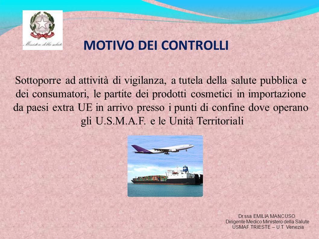 MOTIVO DEI CONTROLLI Sottoporre ad attività di vigilanza, a tutela della salute pubblica e dei consumatori, le partite dei prodotti cosmetici in impor