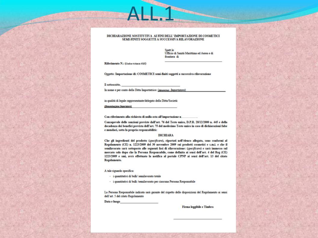 IMPORTAZIONE DI PRODOTTI COSMETICI FINITI NON ANCORA DESTINATI ALLIMMISSIONE SUL MERCATO La persona responsabile (art.4, Reg (CE) 1223/2009) non intende immetterlo subito sul mercato.