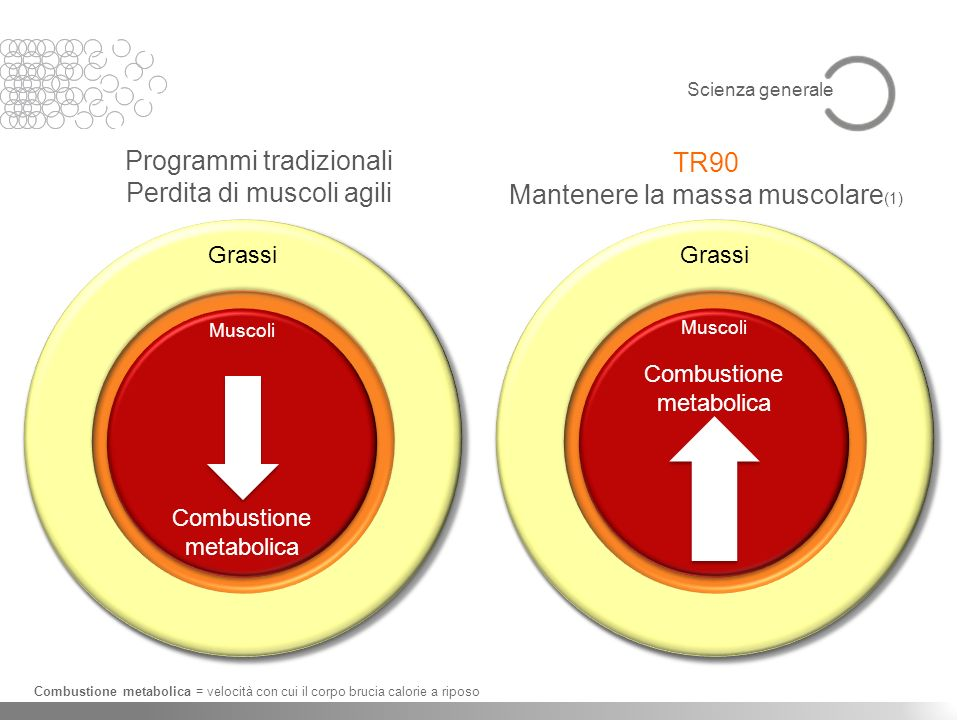 Programmi tradizionali Perdita di muscoli agili TR90 Mantenere la massa muscolare (1) Combustione metabolica = velocità con cui il corpo brucia calori