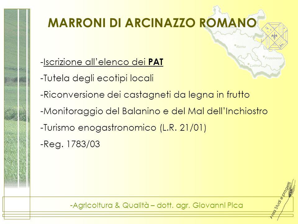 Area Studi e progetti -Agricoltura & Qualità – dott. agr. Giovanni Pica MARRONI DI ARCINAZZO ROMANO -Iscrizione allelenco dei PAT -Tutela degli ecotip
