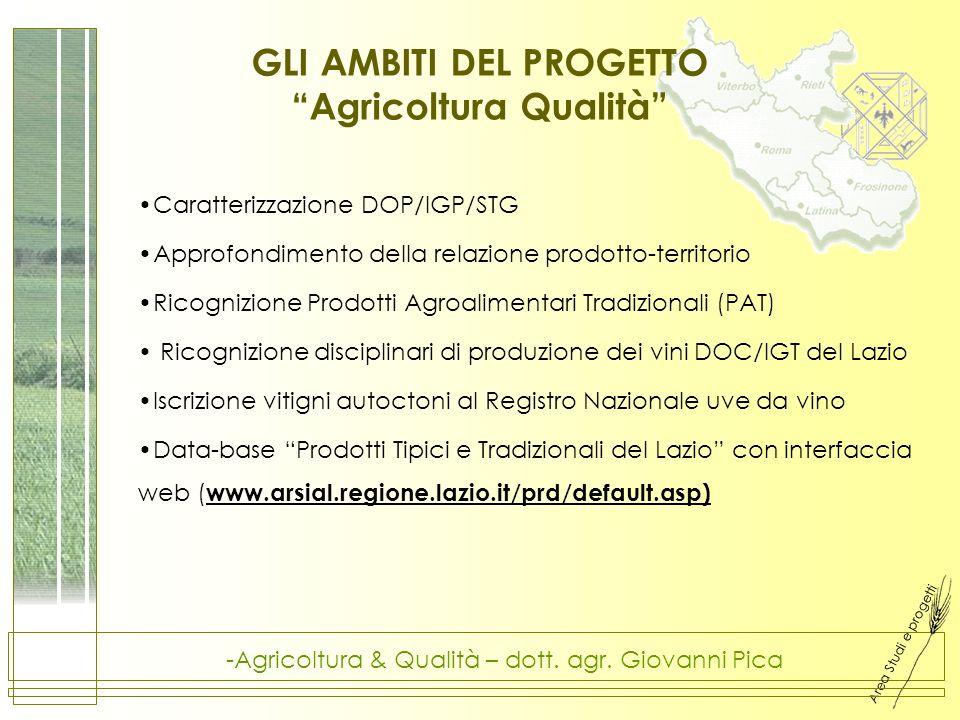Area Studi e progetti -Agricoltura & Qualità – dott. agr. Giovanni Pica GLI AMBITI DEL PROGETTO Agricoltura Qualità Caratterizzazione DOP/IGP/STG Appr