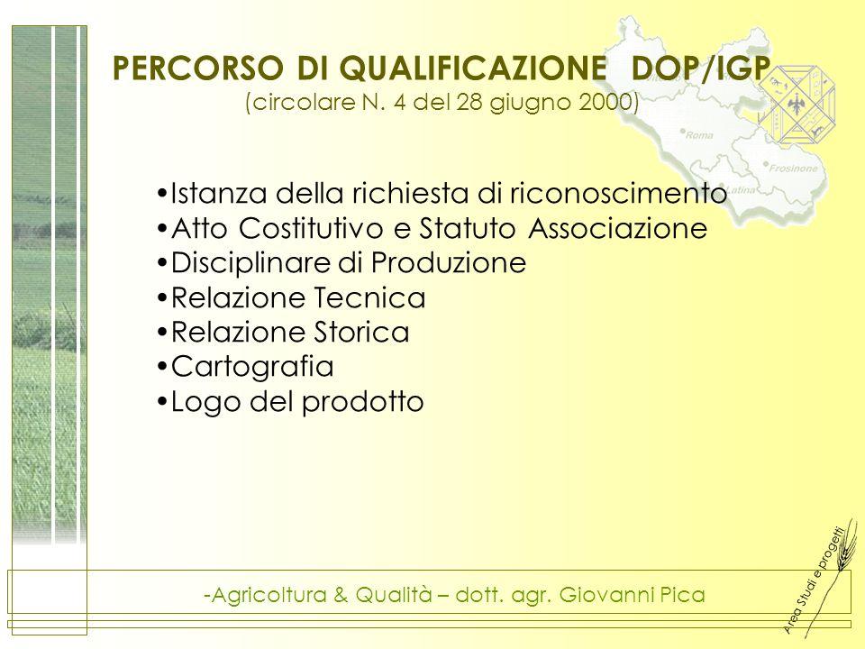 Area Studi e progetti -Agricoltura & Qualità – dott. agr. Giovanni Pica PERCORSO DI QUALIFICAZIONE DOP/IGP (circolare N. 4 del 28 giugno 2000) Istanza