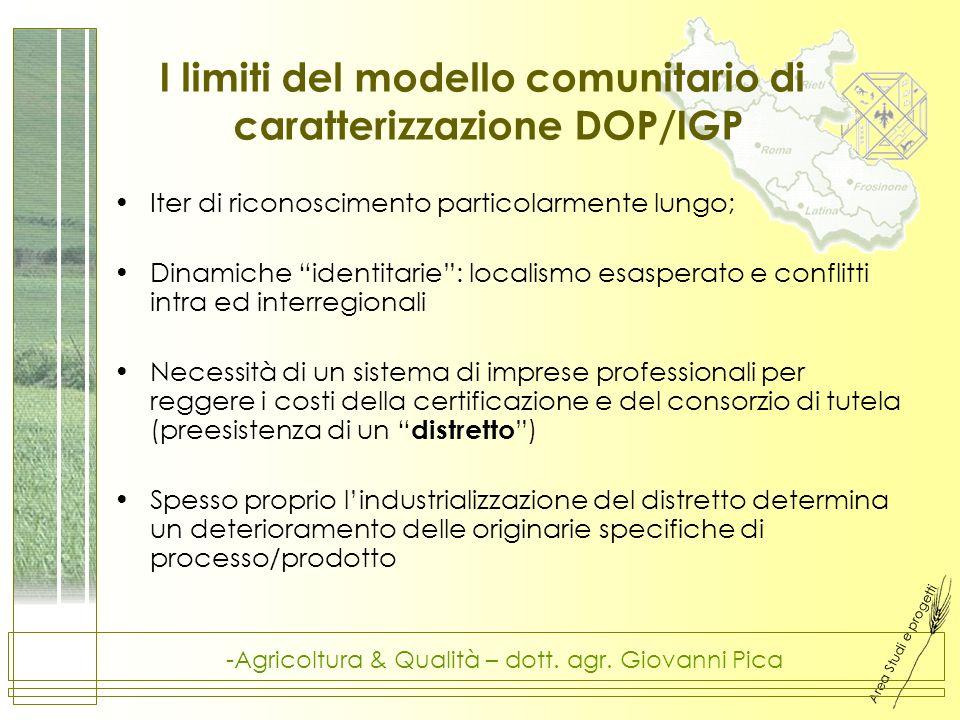 Area Studi e progetti -Agricoltura & Qualità – dott. agr. Giovanni Pica I limiti del modello comunitario di caratterizzazione DOP/IGP Iter di riconosc