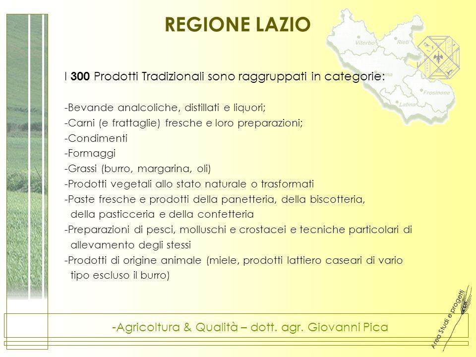 Area Studi e progetti -Agricoltura & Qualità – dott. agr. Giovanni Pica REGIONE LAZIO I 300 Prodotti Tradizionali sono raggruppati in categorie: -Beva