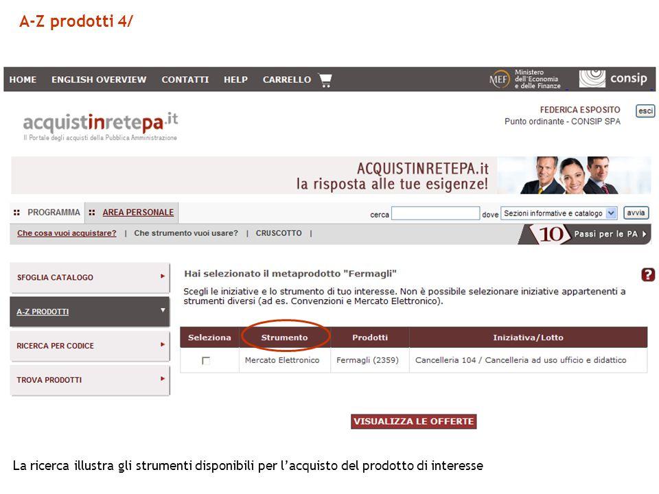 A-Z prodotti 4/ La ricerca illustra gli strumenti disponibili per lacquisto del prodotto di interesse