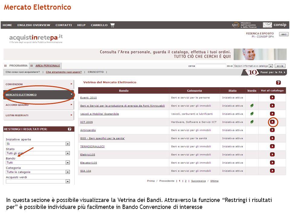 Mercato Elettronico In questa sezione è possibile visualizzare la Vetrina dei Bandi.