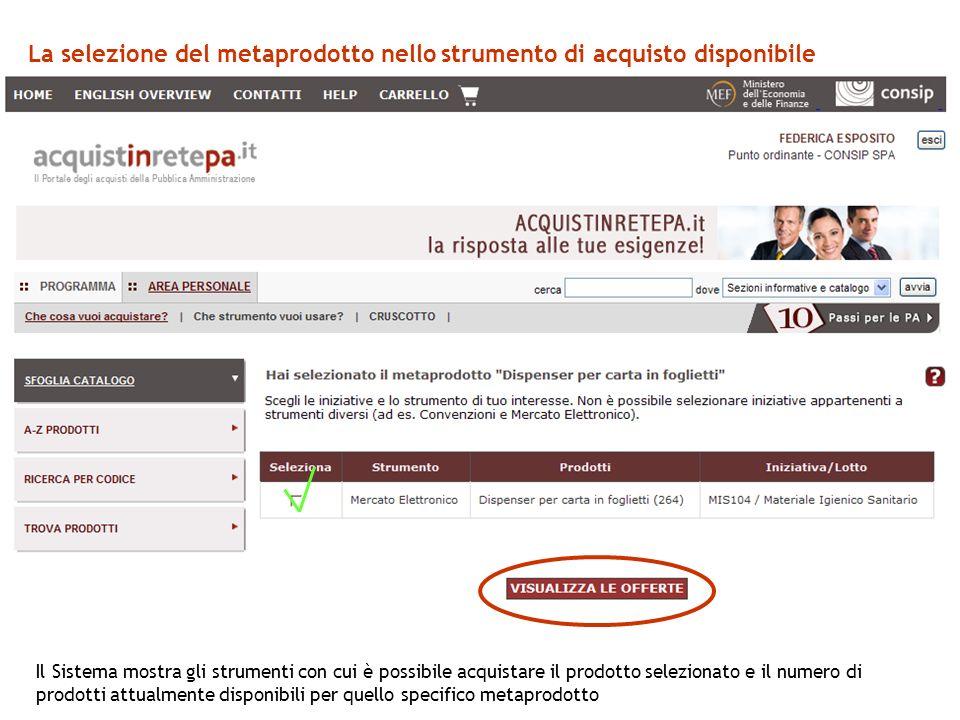 La selezione del metaprodotto nello strumento di acquisto disponibile Il Sistema mostra gli strumenti con cui è possibile acquistare il prodotto selezionato e il numero di prodotti attualmente disponibili per quello specifico metaprodotto