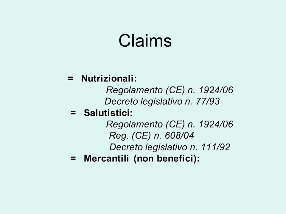 Claims = Nutrizionali: = Nutrizionali: Regolamento (CE) n. 1924/06 Regolamento (CE) n. 1924/06 Decreto legislativo n. 77/93 Decreto legislativo n. 77/