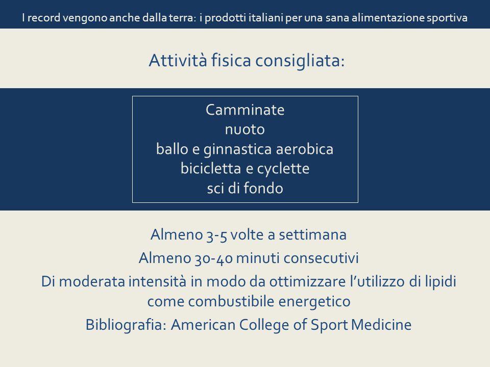 I record vengono anche dalla terra: i prodotti italiani per una sana alimentazione sportiva Attività fisica consigliata: Camminate nuoto ballo e ginna