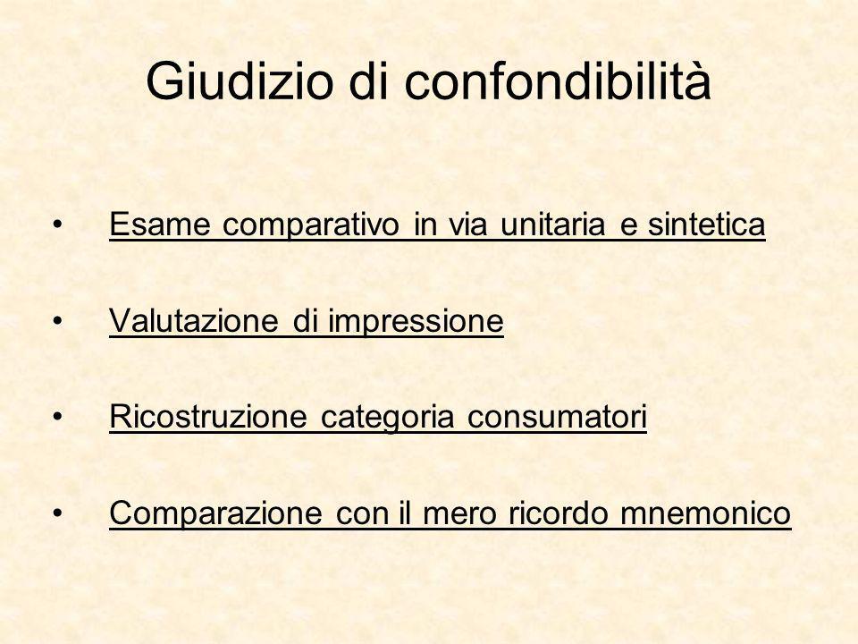 Giudizio di confondibilità Esame comparativo in via unitaria e sintetica Valutazione di impressione Ricostruzione categoria consumatori Comparazione con il mero ricordo mnemonico
