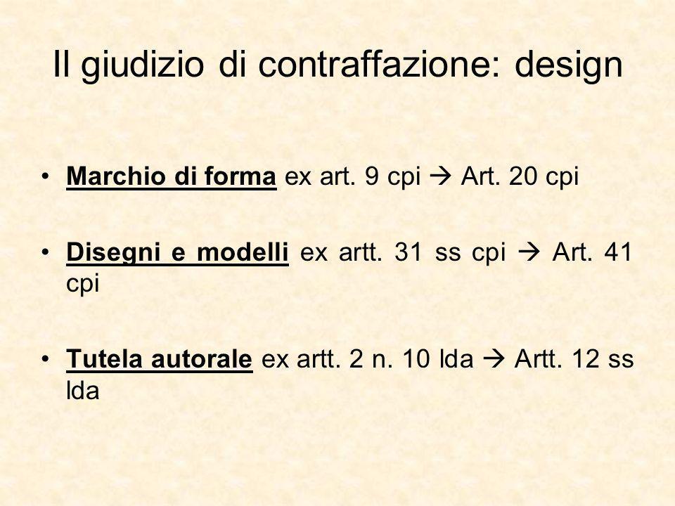 Il giudizio di contraffazione: design Marchio di forma ex art.