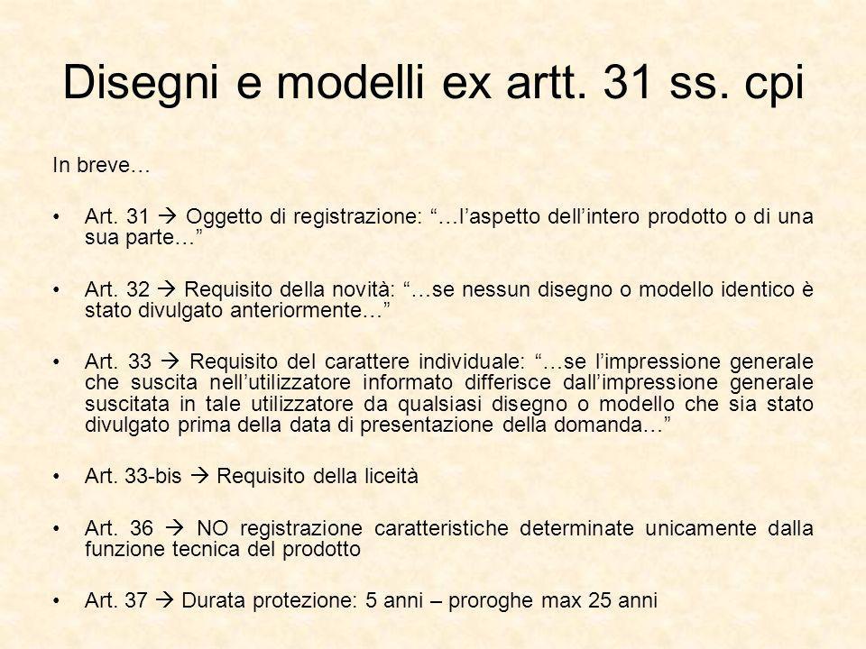 Disegni e modelli ex artt.31 ss. cpi In breve… Art.