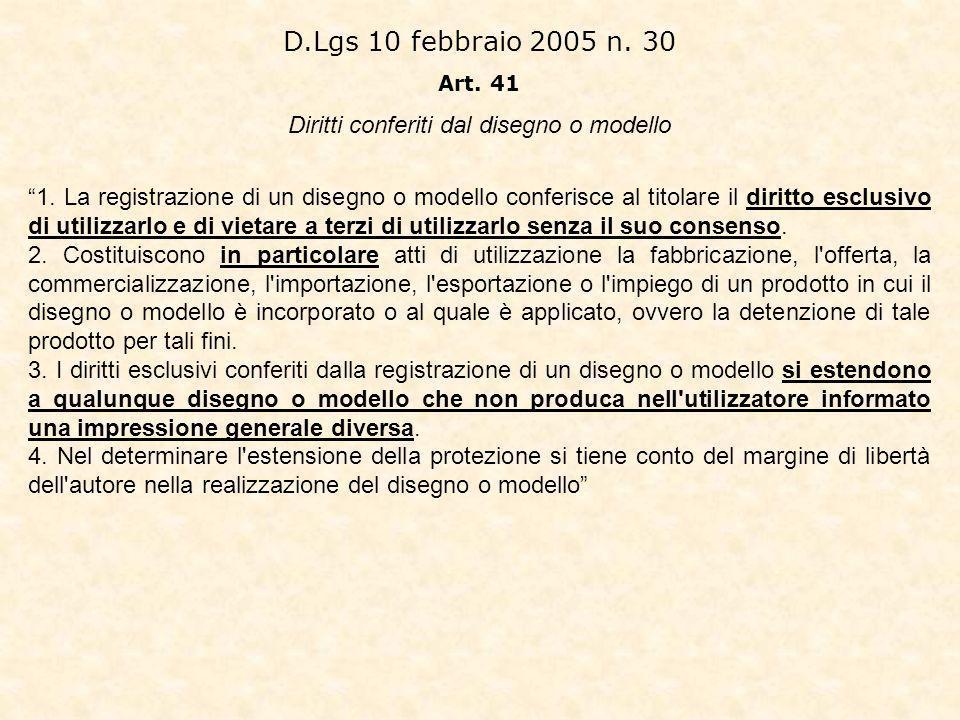 D.Lgs 10 febbraio 2005 n.30 Art. 41 Diritti conferiti dal disegno o modello 1.