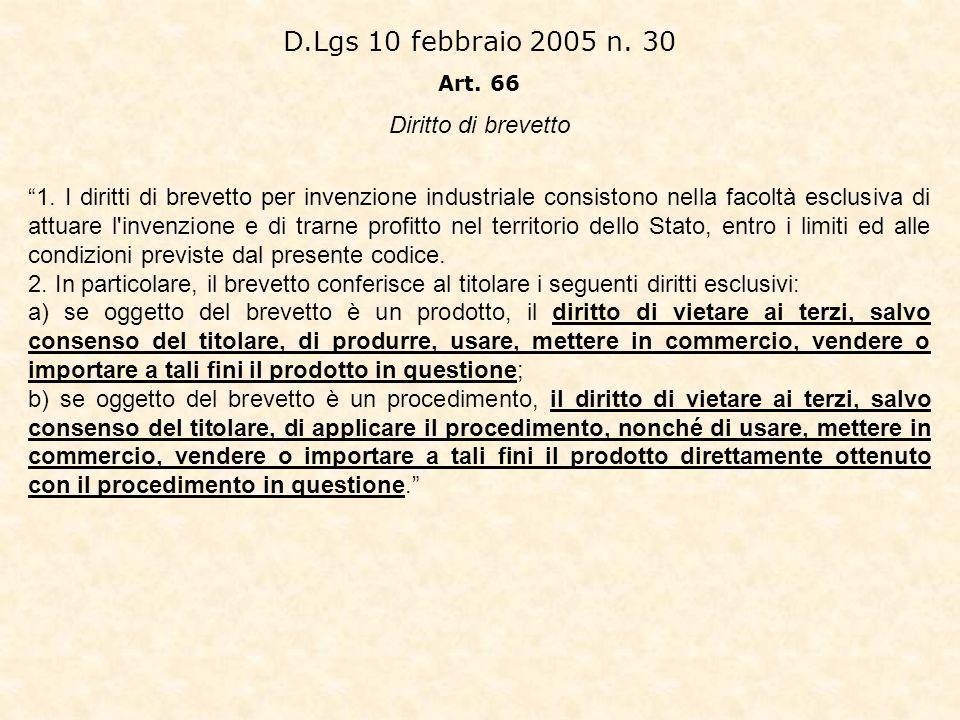 D.Lgs 10 febbraio 2005 n.30 Art. 66 Diritto di brevetto 1.