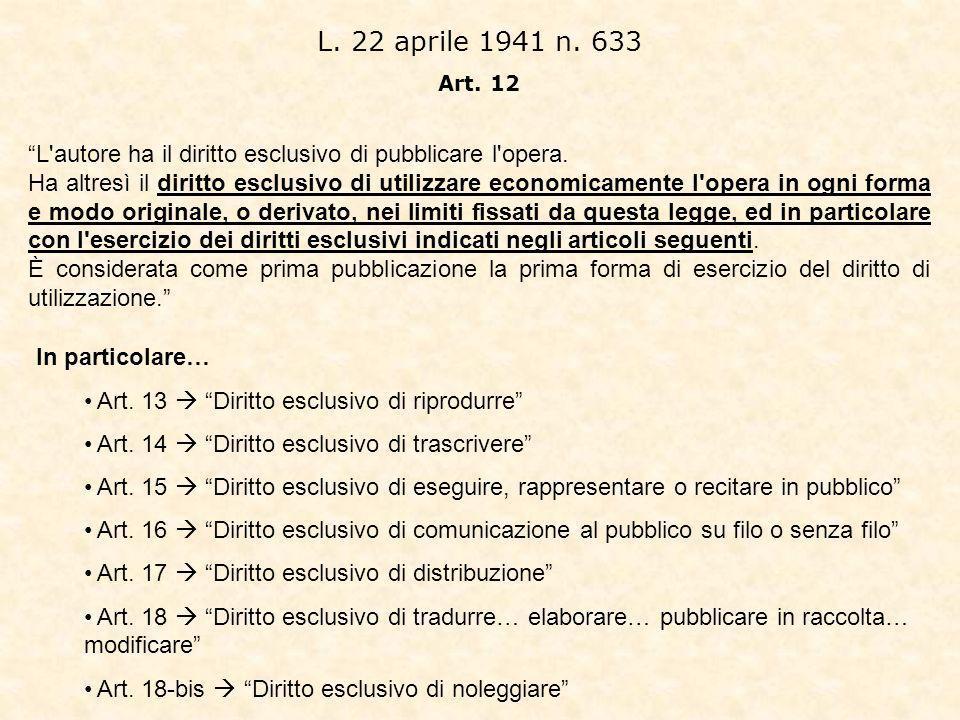 L.22 aprile 1941 n. 633 Art. 12 L autore ha il diritto esclusivo di pubblicare l opera.
