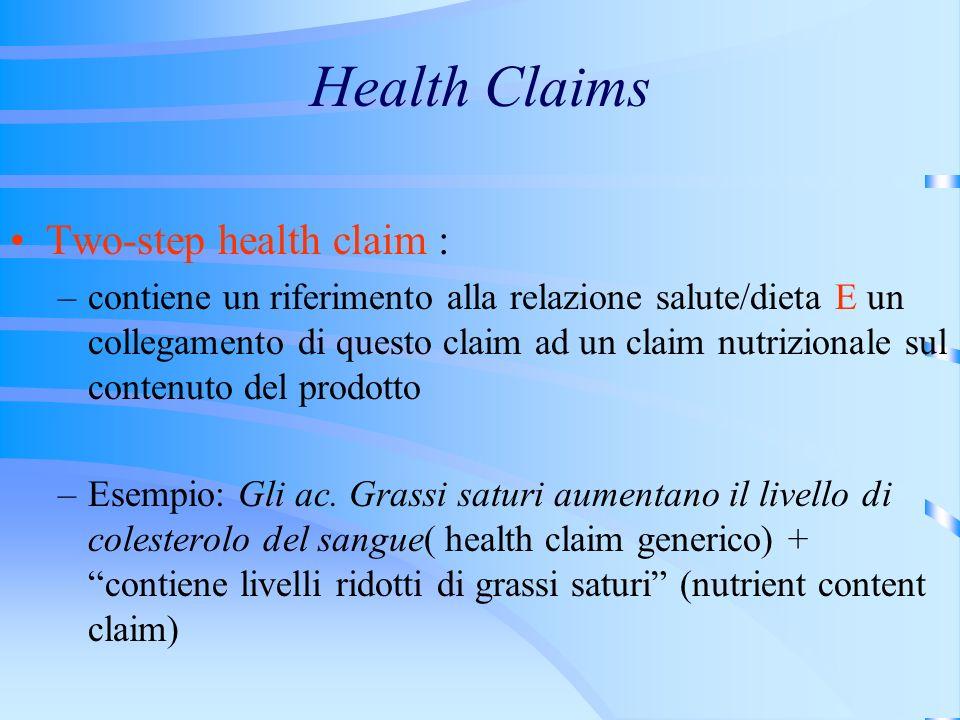 Health Claims Two-step health claim : –contiene un riferimento alla relazione salute/dieta E un collegamento di questo claim ad un claim nutrizionale sul contenuto del prodotto –Esempio: Gli ac.