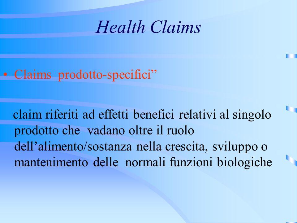 Health Claims Claims prodotto-specifici claim riferiti ad effetti benefici relativi al singolo prodotto che vadano oltre il ruolo dellalimento/sostanz