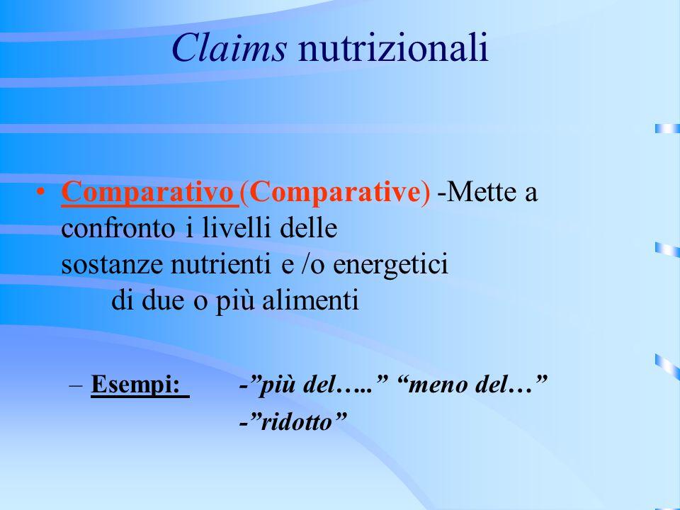 Claims nutrizionali Comparativo (Comparative) -Mette a confronto i livelli delle sostanze nutrienti e /o energetici di due o più alimenti –Esempi: -più del…..