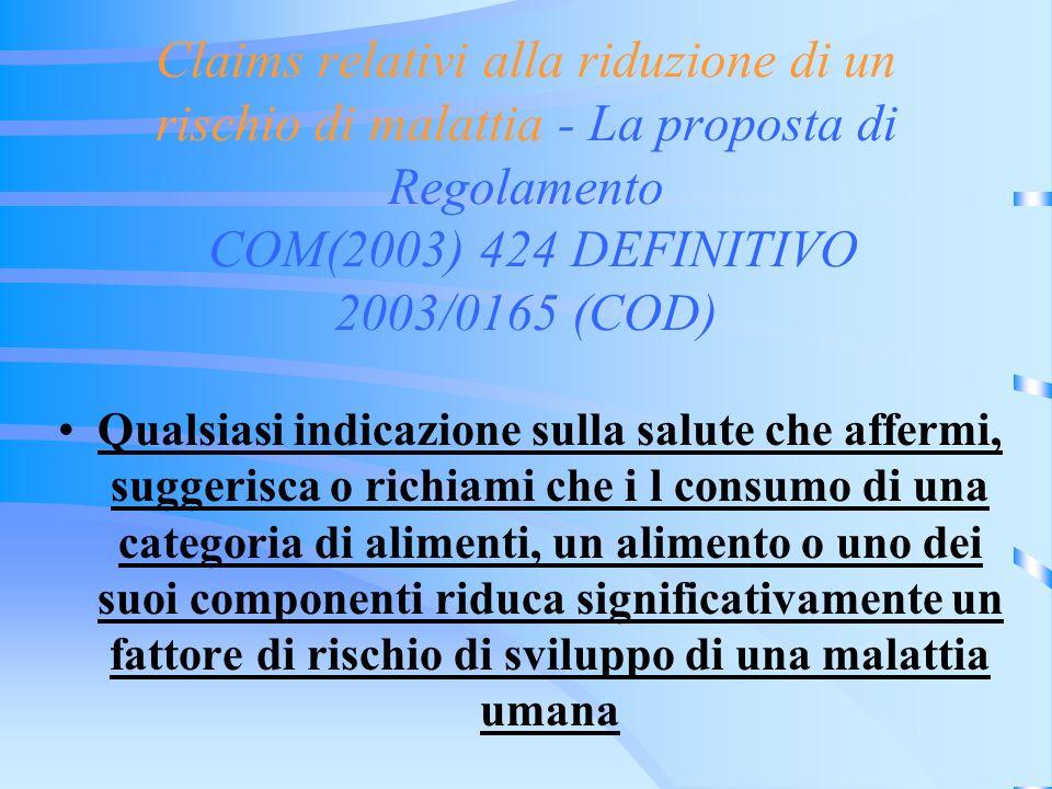 Claims relativi alla riduzione di un rischio di malattia - La proposta di Regolamento COM(2003) 424 DEFINITIVO 2003/0165 (COD) Qualsiasi indicazione s