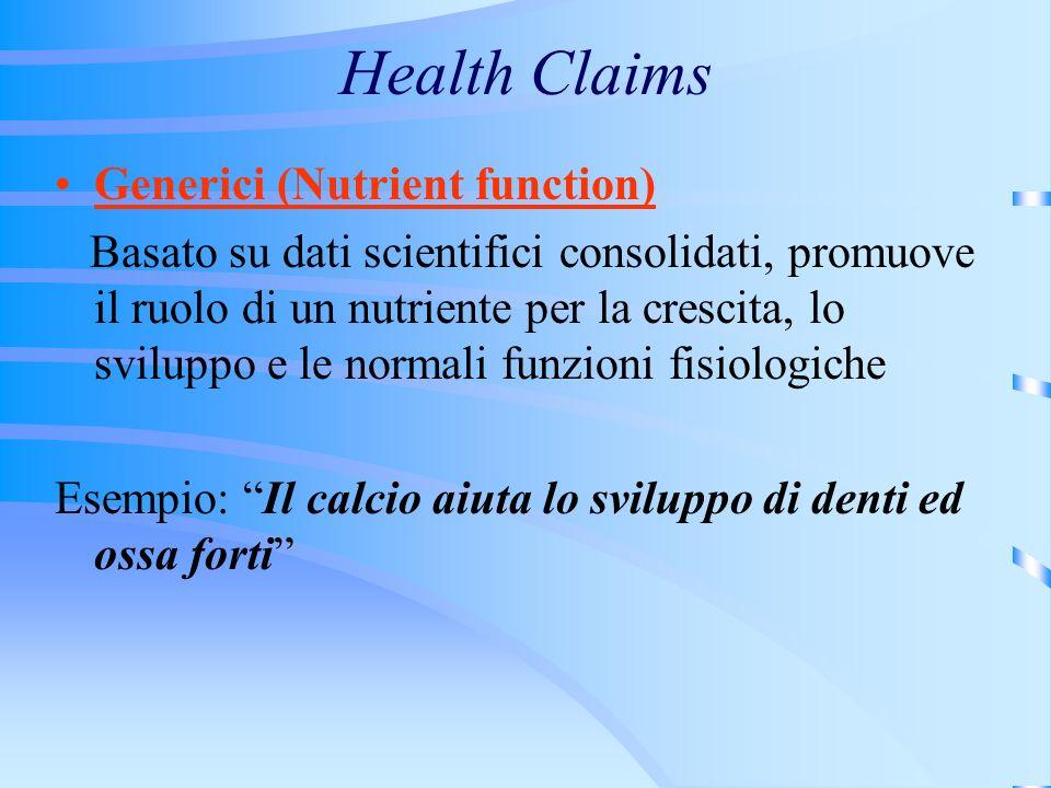 Health Claims Generici (Nutrient function) Basato su dati scientifici consolidati, promuove il ruolo di un nutriente per la crescita, lo sviluppo e le normali funzioni fisiologiche Esempio: Il calcio aiuta lo sviluppo di denti ed ossa forti