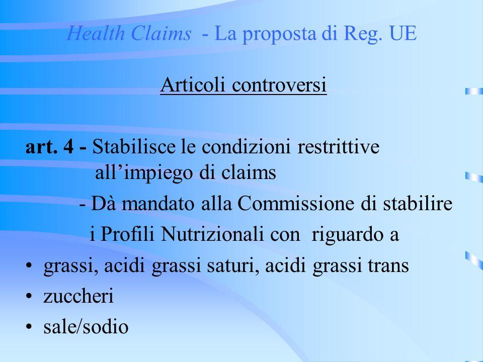 Health Claims - La proposta di Reg.UE La contestazione sullArt.4 art.