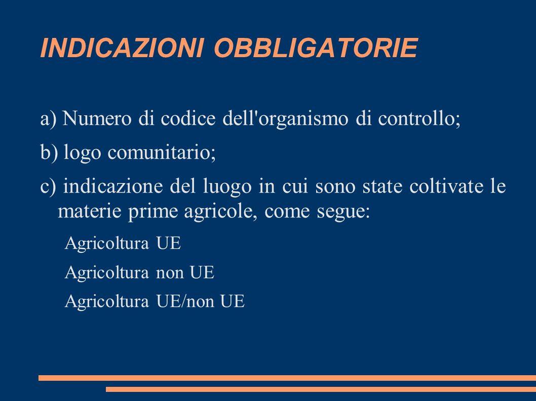 INDICAZIONI OBBLIGATORIE a) Numero di codice dell'organismo di controllo; b) logo comunitario; c) indicazione del luogo in cui sono state coltivate le