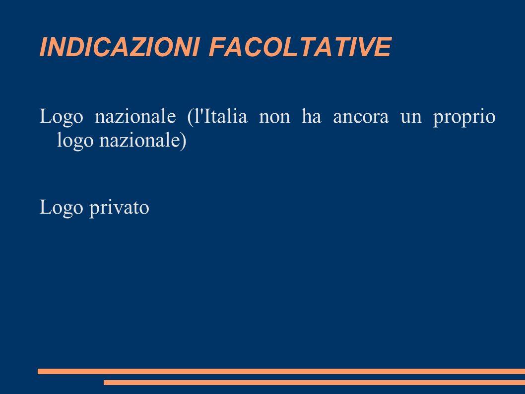 INDICAZIONI FACOLTATIVE Logo nazionale (l'Italia non ha ancora un proprio logo nazionale) Logo privato
