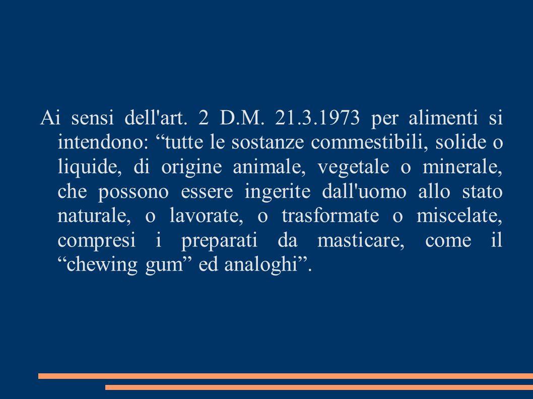 Ai sensi dell'art. 2 D.M. 21.3.1973 per alimenti si intendono: tutte le sostanze commestibili, solide o liquide, di origine animale, vegetale o minera