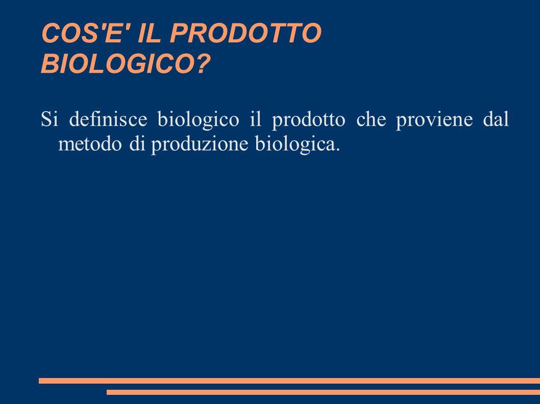 COS'E' IL PRODOTTO BIOLOGICO? Si definisce biologico il prodotto che proviene dal metodo di produzione biologica.