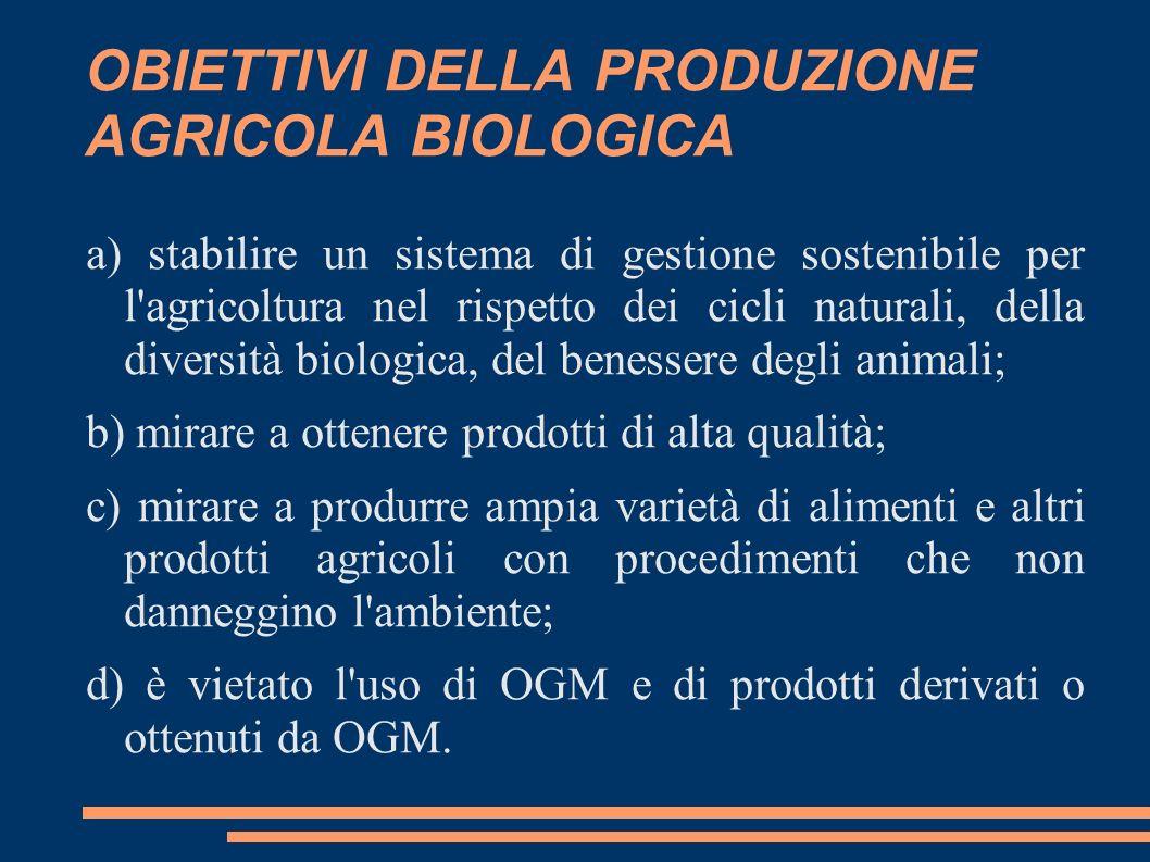 OBIETTIVI DELLA PRODUZIONE AGRICOLA BIOLOGICA a) stabilire un sistema di gestione sostenibile per l'agricoltura nel rispetto dei cicli naturali, della