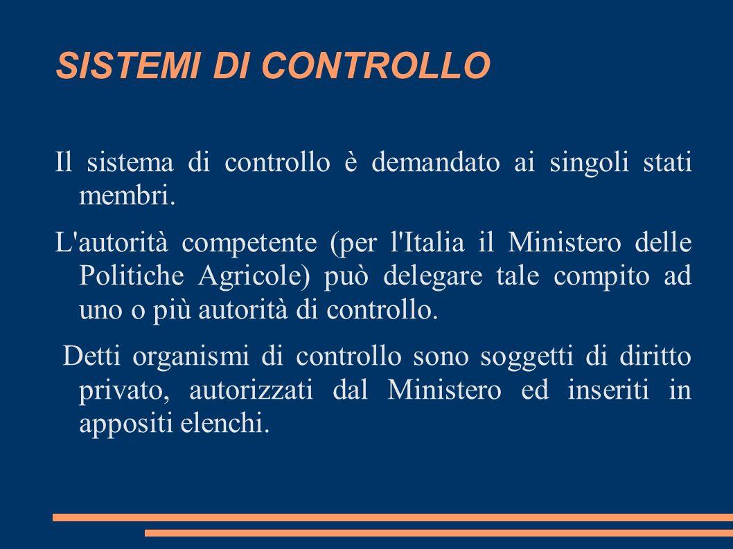 SISTEMI DI CONTROLLO Il sistema di controllo è demandato ai singoli stati membri. L'autorità competente (per l'Italia il Ministero delle Politiche Agr