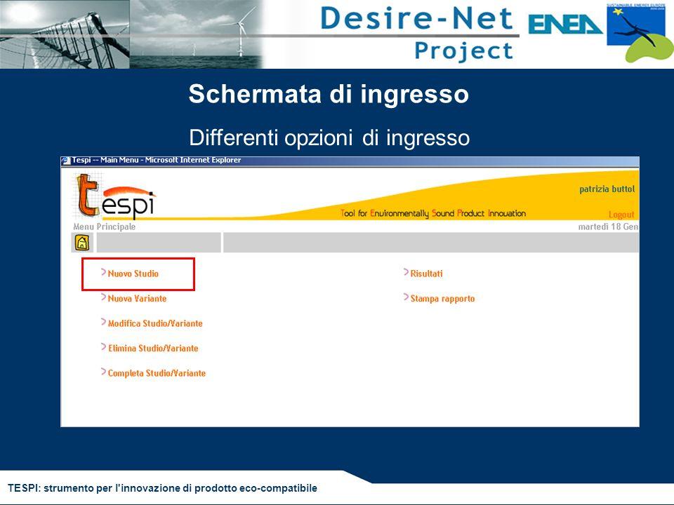 TESPI: strumento per l'innovazione di prodotto eco-compatibile Schermata di ingresso Differenti opzioni di ingresso