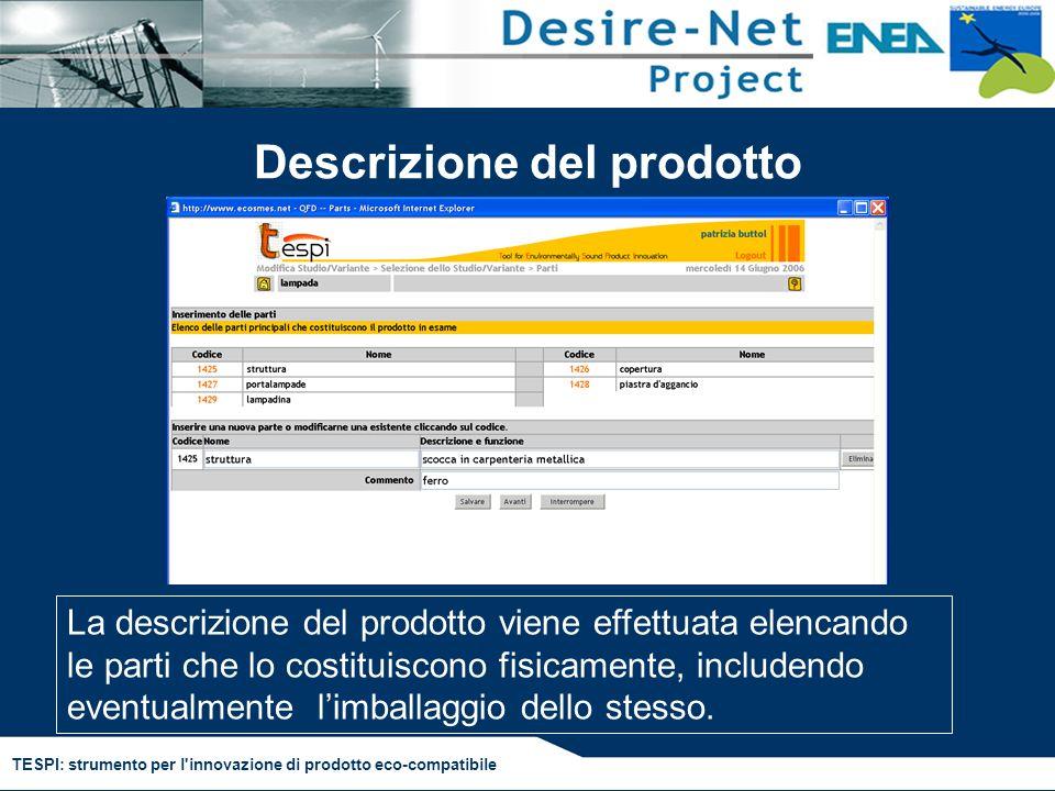 TESPI: strumento per l'innovazione di prodotto eco-compatibile Descrizione del prodotto La descrizione del prodotto viene effettuata elencando le part