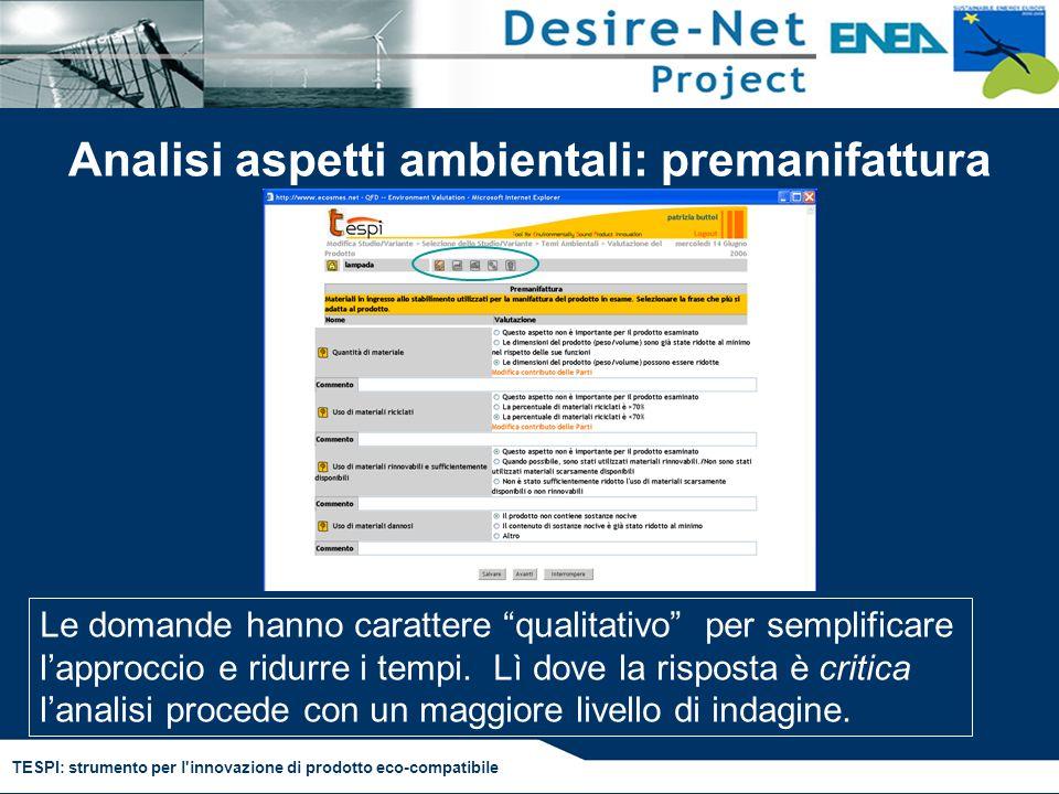 TESPI: strumento per l'innovazione di prodotto eco-compatibile Analisi aspetti ambientali: premanifattura Le domande hanno carattere qualitativo per s