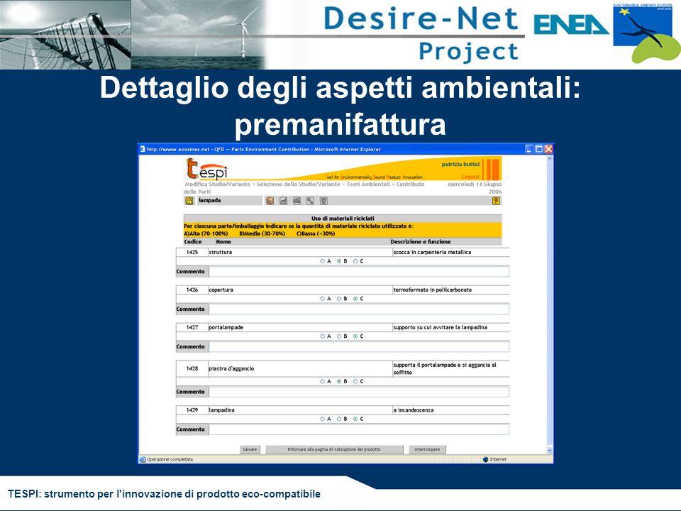 TESPI: strumento per l'innovazione di prodotto eco-compatibile Dettaglio degli aspetti ambientali: premanifattura