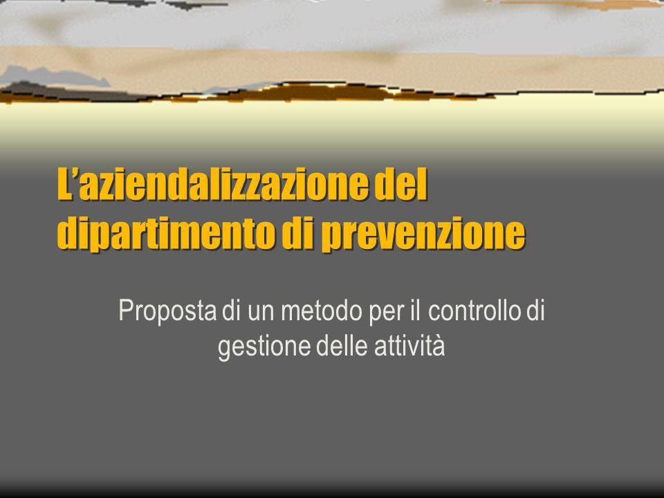 Laziendalizzazione del dipartimento di prevenzione Proposta di un metodo per il controllo di gestione delle attività