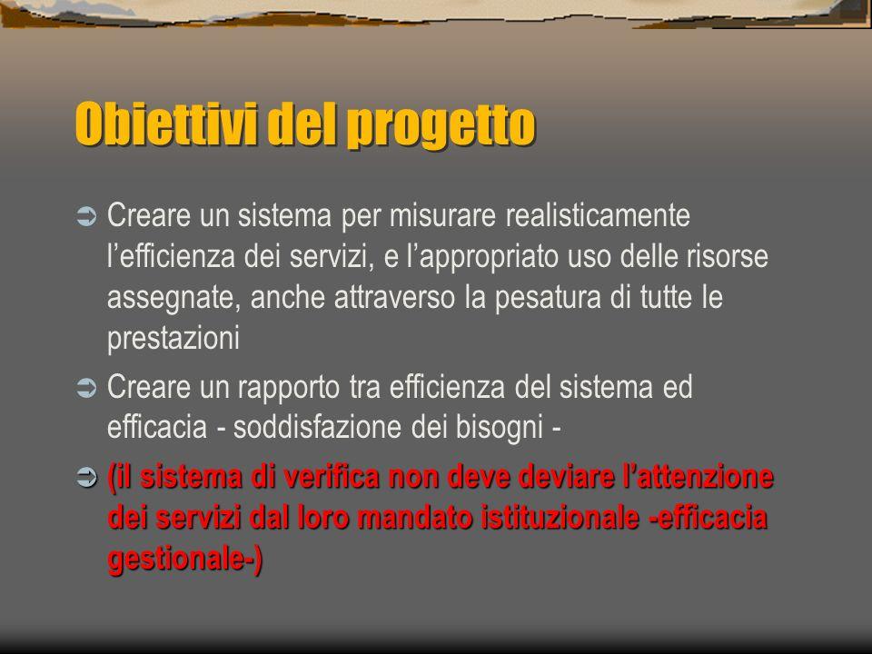 Obiettivi del progetto Creare un sistema per misurare realisticamente lefficienza dei servizi, e lappropriato uso delle risorse assegnate, anche attra