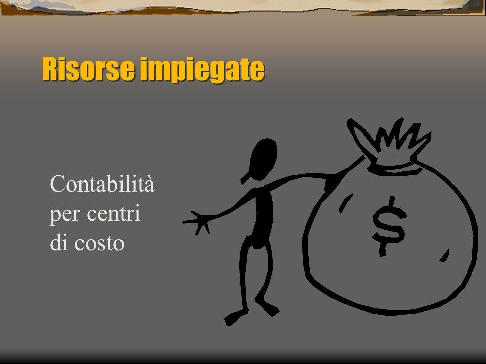 Risorse impiegate Contabilità per centri di costo