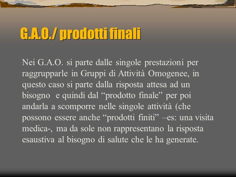 G.A.O./ prodotti finali Nei G.A.O. si parte dalle singole prestazioni per raggrupparle in Gruppi di Attività Omogenee, in questo caso si parte dalla r