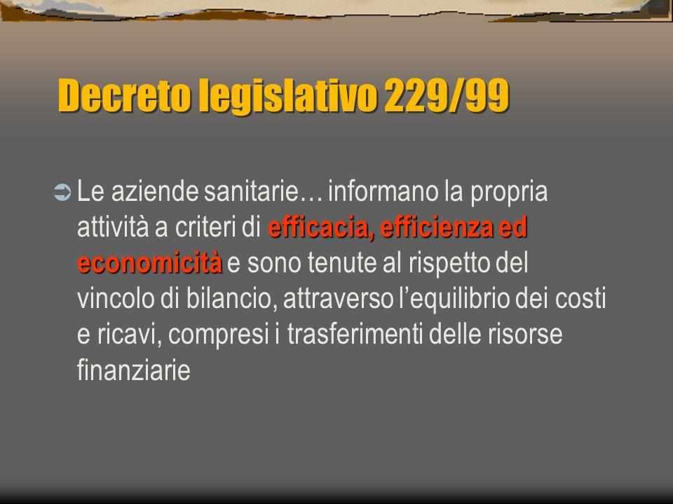 Decreto legislativo 229/99 efficacia, efficienza ed economicità Le aziende sanitarie… informano la propria attività a criteri di efficacia, efficienza ed economicità e sono tenute al rispetto del vincolo di bilancio, attraverso lequilibrio dei costi e ricavi, compresi i trasferimenti delle risorse finanziarie