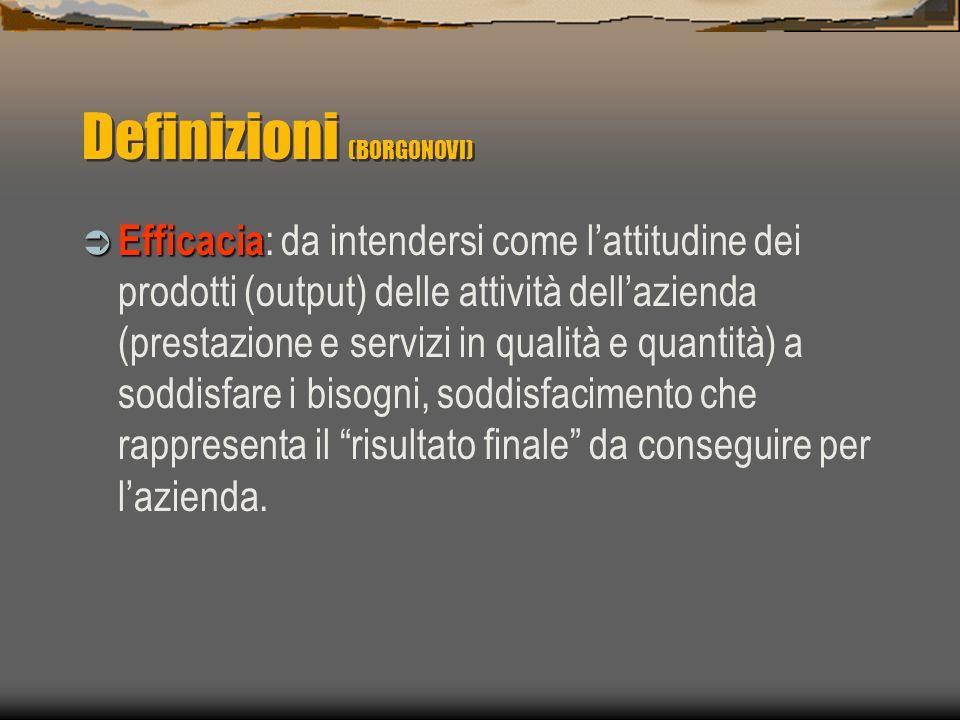 Definizioni (BORGONOVI) Efficienza Efficienza : da intendersi come rapporto tra quantità e qualità delle risorse impiegate e quantità e qualità delle prestazioni e dei servizi prodotti