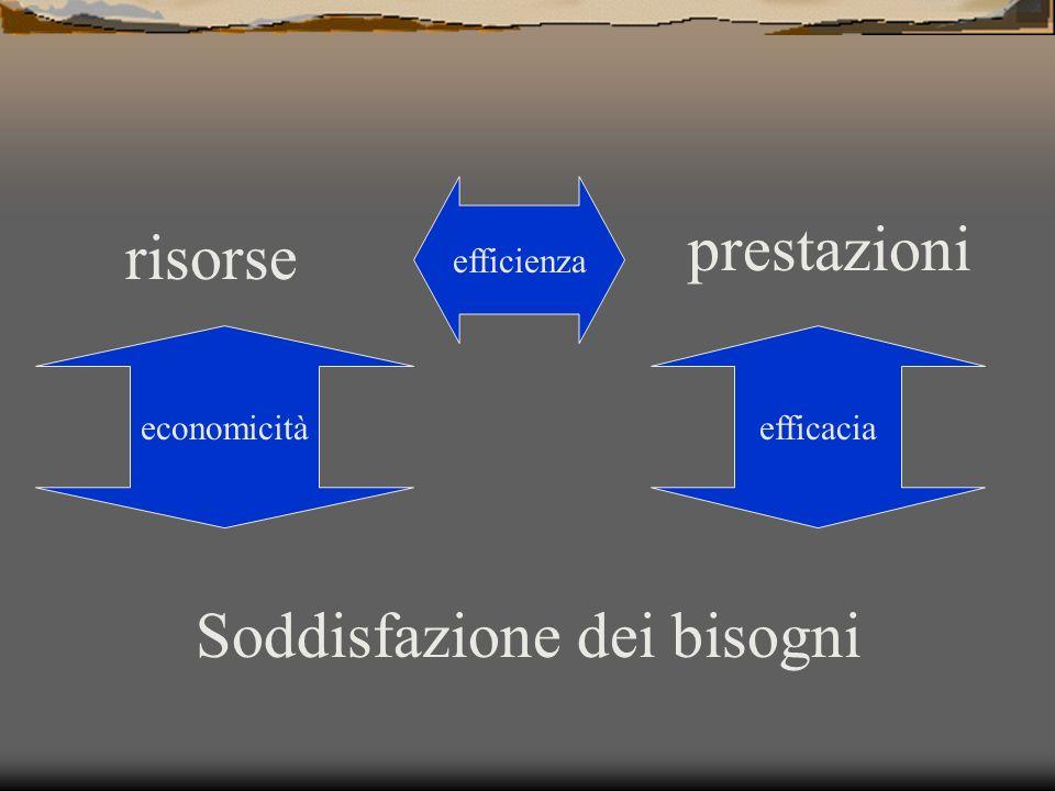 risorse prestazioni Soddisfazione dei bisogni efficienza efficaciaeconomicità
