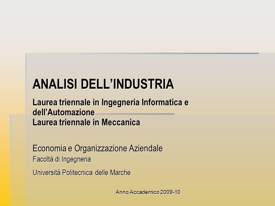 Anno Accademico 2009-10 ANALISI DELLINDUSTRIA Laurea triennale in Ingegneria Informatica e dellAutomazione Laurea triennale in Meccanica Economia e Or