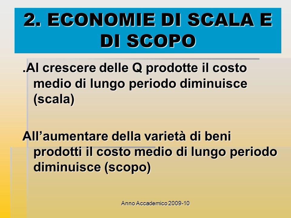 Anno Accademico 2009-10 2. ECONOMIE DI SCALA E DI SCOPO.Al crescere delle Q prodotte il costo medio di lungo periodo diminuisce (scala) Allaumentare d