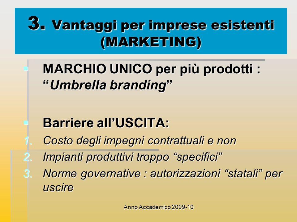 Anno Accademico 2009-10 3. Vantaggi per imprese esistenti (MARKETING) MARCHIO UNICO per più prodotti :Umbrella branding MARCHIO UNICO per più prodotti