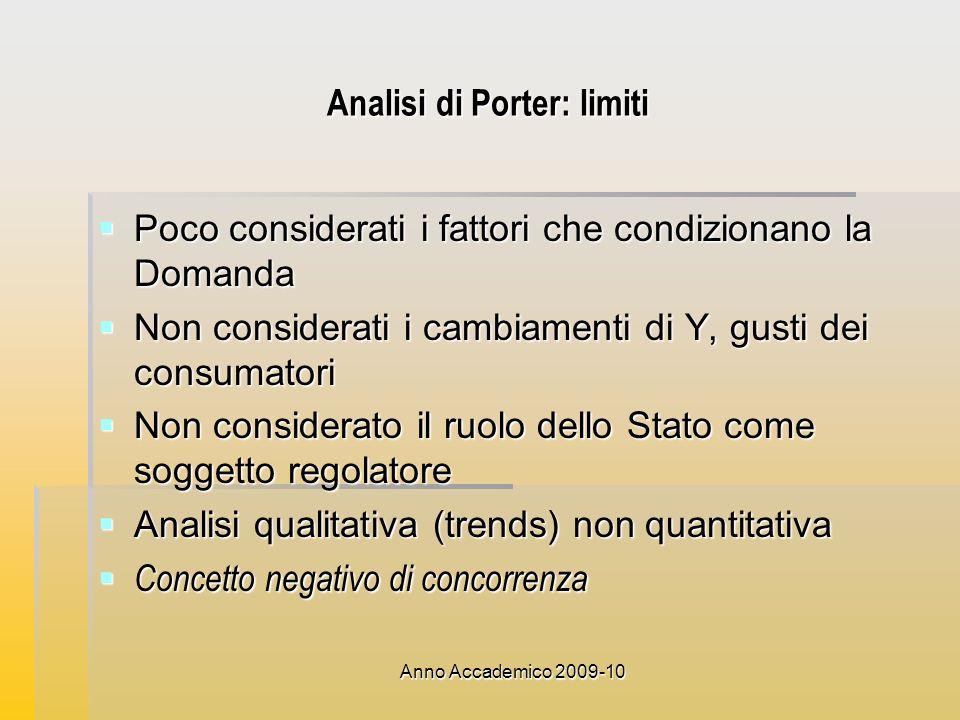 Anno Accademico 2009-10 Analisi di Porter: limiti Poco considerati i fattori che condizionano la Domanda Poco considerati i fattori che condizionano l